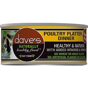 Dave's Pet Food Cat  Dave's Ntrl Hlthy GF Poultry Platter Dinner  PoultryPlatt  5.5oz