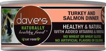 Dave's Pet Food Cat  Dave's Ntrl Hlthy GF Turkey & Salmon Dinner  TurkeySalmon  5.5oz